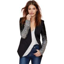 Black Sequin Sleeve Long Sleeve Women's Suit