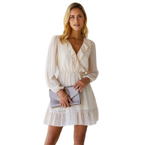 Apricot Ruffle Hem Long Sleeve Dress TQK310303-18