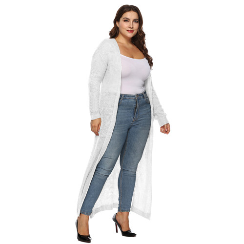 White Split Plus Size Cardigan With Pockets TQK270039P-1