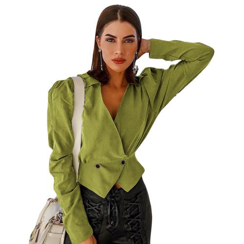 Green V Neck Short Style Lady Blazer Suit TQS260012-9