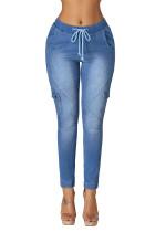 Dusty Blue Drawstring Ankle Pocket Denim Jeans