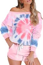 Pink Tie Dye Printed Long Sleeve Tops and Shorts Pajamas Set LC451014-10