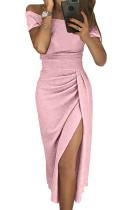 Pink Off Shoulder Short Sleeve Metallic Slit Party Dress