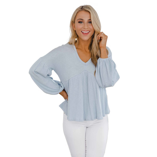 Light Blue Lantern Sleeve Loose Style Fashion Tops TQK210429-30