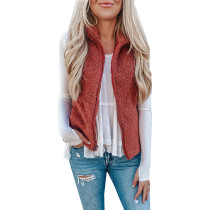 Rust Red Zipped Vest with Pockets TQK280011-33