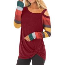 Red Cold Shoulder Color Block Long Sleeves Tops TQK210250-3