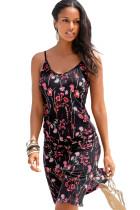 Red Blooming Flower Print Summer Slip Dress