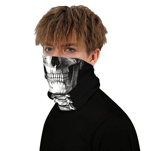 Black White Skull Print Multifunction Outdoor Cycling Mask TQZ910056