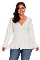White Ruffle Hem V Neck Plus Size Cardigan
