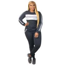 Black Sequin Splice Sweatshirt with Pant Set TQS710021-2