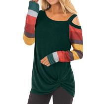 Green Cold Shoulder Color Block Long Sleeves Tops TQK210250-9