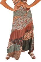 Multicolor Boho Print Tie-Up Waist Long Maxi Skirt LC65265-22