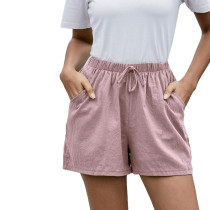 Pink Pocketed Loose Flax Shorts TQK530012-10