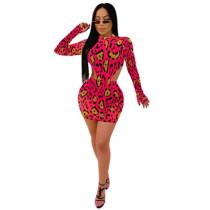 Red Leopard Print Bodysuit and Skirt Set TQS710015-3