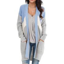 Blue Geometric Colorblock Knit Cardigan TQK271088-5
