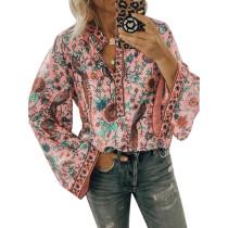 Light Pink Peacock Print Long Sleeve Blouse TQK220030-39