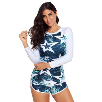 Blue Contrast White Sleeves Surfing Suit with Short