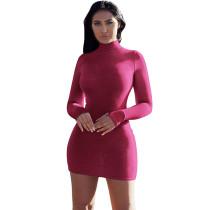 Purple Red High Neck Long Sleeve Bodycon Dress TQK310179-32