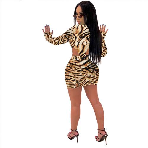 Brown Tiger Print Bodysuit and Skirt Set TQS710015-21