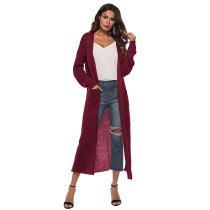 Wine Red Split Long Cardigan With Pockets TQK270039-103