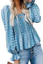 Sky Blue Bohemian Print Shirred Bodice Tunic Top LC252992-4