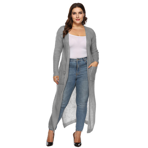 Gray Split Plus Size Cardigan With Pockets TQK270039P-11
