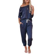 Navy Blue Long Sleeve Home Wear Joggers Set TQK710033-34