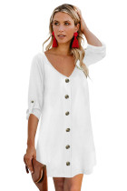White V Neck Button Front Roll up Tab Sleeve Dress