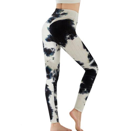 Black White Tie Dye Leggings Yoga Pants TQK520020-37