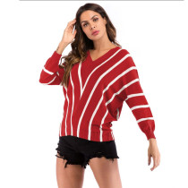 Red Stripes V Neck Bat Sleeve Knit Blouse GJZ0079-3