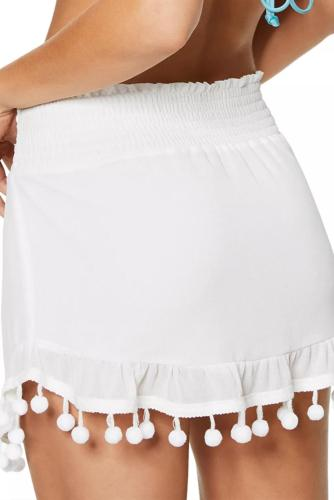 White Tassel Pompom Ruffled Beach Skirt LC420198-1