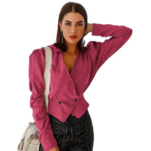 Rosy V Neck Short Style Lady Blazer Suit TQS260012-3