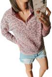 Pink Leopard Zipped Collar Sweatshirt LC253327-10