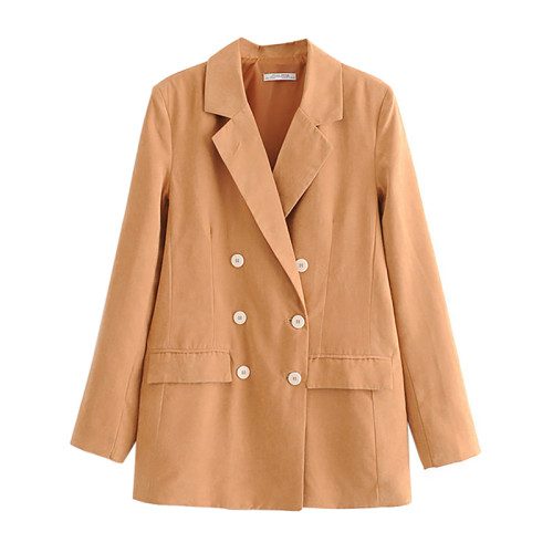 Khaki Double Row Button Lady Blazer Suit TQK260036-21