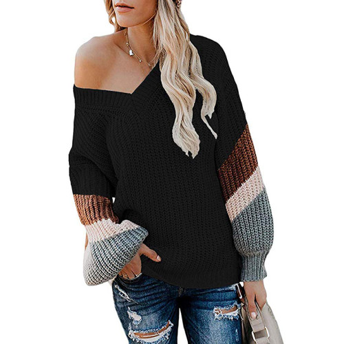 Black V Neck Loose Knit Sweater TQK270019-2