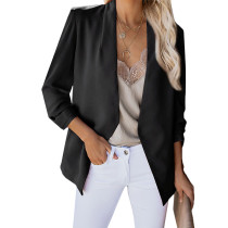 Black 3/4 Sleeve Lightweight Blazer With Pockets TQK260015-2 (This items size is smaller, pls select