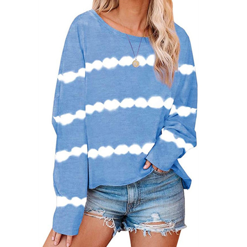 Blue Striped Casual Style Long Sleeve Tops TQK210433-5