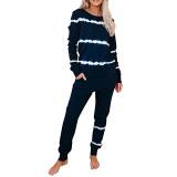 Navy Blue Striped Long Sleeve Pant Set Loungewear TQK710110-34