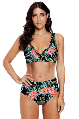 Black Floral Print V Neck Hollow Out High Waist Bikini LC412251-102
