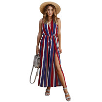 Red Stripe Wide Leg Split Casual Jumpsuit TQK550184-3
