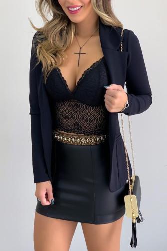 Black Lace Bralette Crop Top LC253569-2