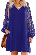 Blue Lace Long Sleeves Shift Above Knee Dress LC221094-5