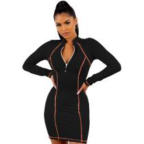 Black 1/4 Zipper Bodycon Mini Dress TQK310216-2