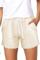 Beige Casual Drawstring Pocket Shorts LC77323-15