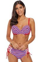 Reddish Multi Striped Bikini Tie Side Bottom Swimsuit