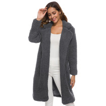 Gray Turndown Collar Long Furry Coat TQK280041-11