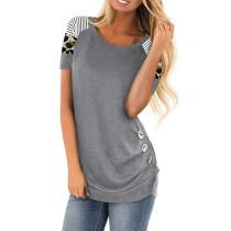 Gray Contrast Leopard Button Detail T Shirt TQK210334-11
