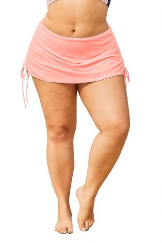 Pink Ruched Side Plus Size Beach Swim Bottom LC412133-10