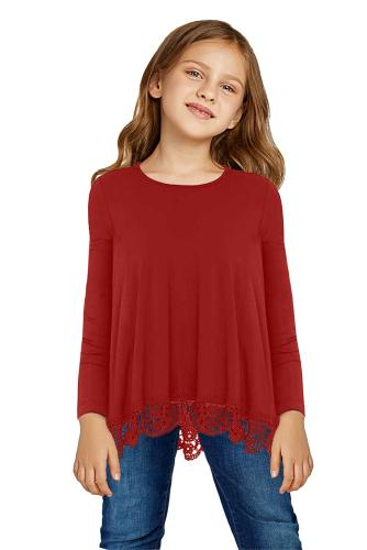 Red Long Sleeve Lace Trim O-neck A-line Tunic Blouse TZ25116-3