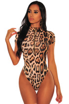 Leopard Print Gold O-Ring Zipper Bodysuit
